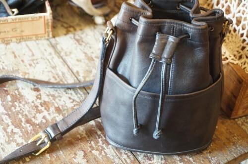 70's COACH ash drawstring shoulder Bag