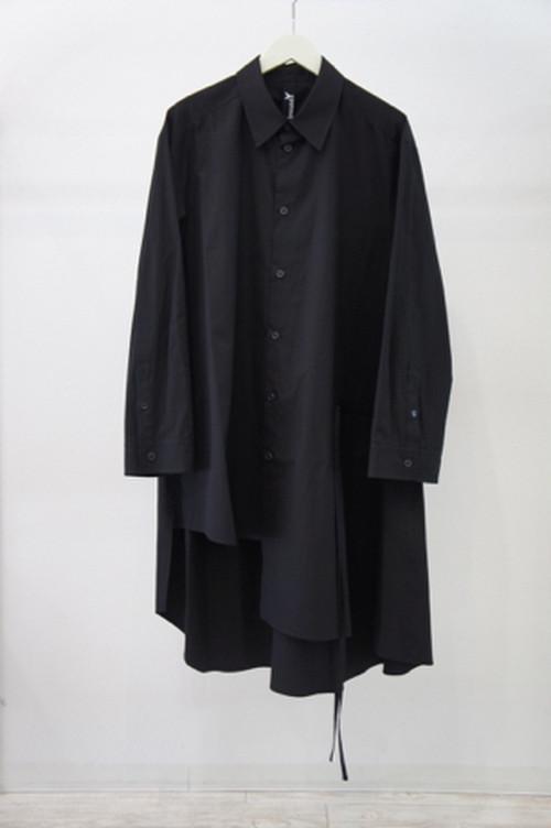 Cotton Gather Drape Shirt -BLACK- / Ground Y