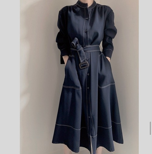 denim belt coat dress 2color
