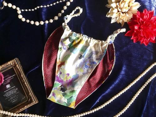 【ローン生地】オトナの花柄ホワイト(パンティ型)