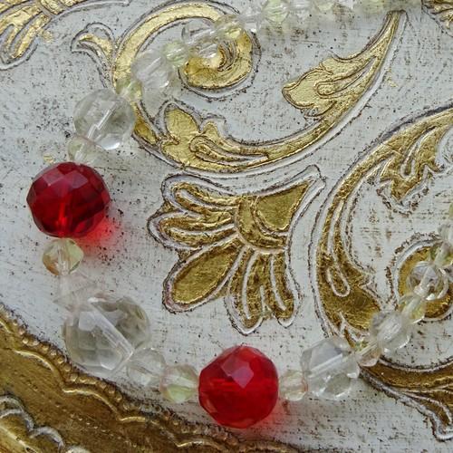 チェコスロバキア チェコガラスのネックレス / クリアレッド