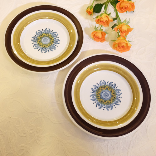 "70's Vintag Signed ""BURLEIGH IRONSTONE, CASTILE"" made in England 2 Bread Plates Set    [CPV-22]"