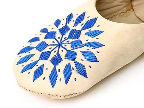モロッコ バブーシュ スリッパ  ダイヤ刺繍【ナチュラル ブルー】