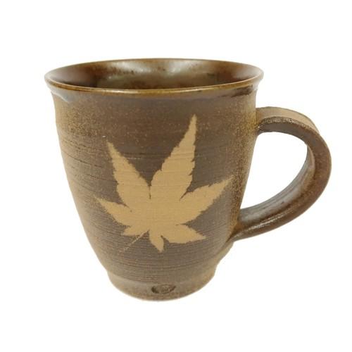 小鹿田焼 マグカップ 手付き 紅葉模様 茶色 小袋定雄窯