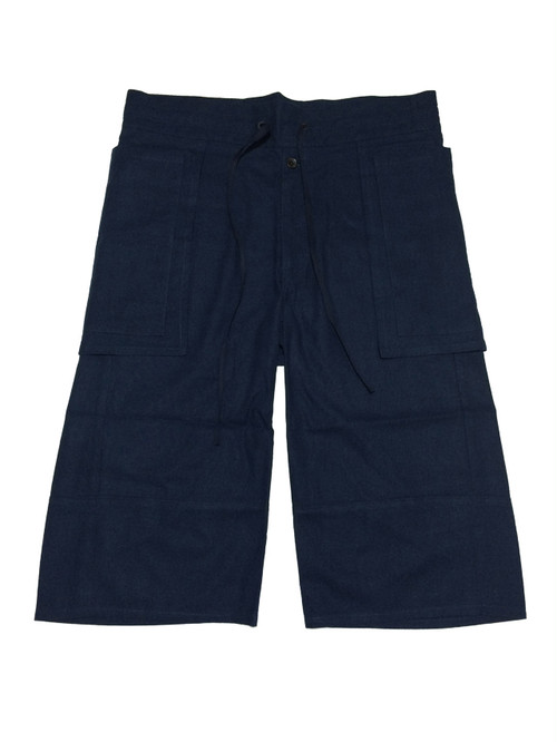 MELD LINEN WAISTCLOTH PANTS -NAVY-