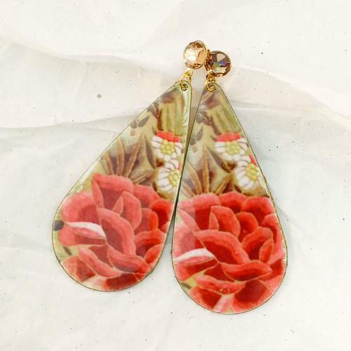 FE-Pd-GtP_PurezaCoral ピアス 雫形P マントン刺繍柄・コーラル系  スペイン製