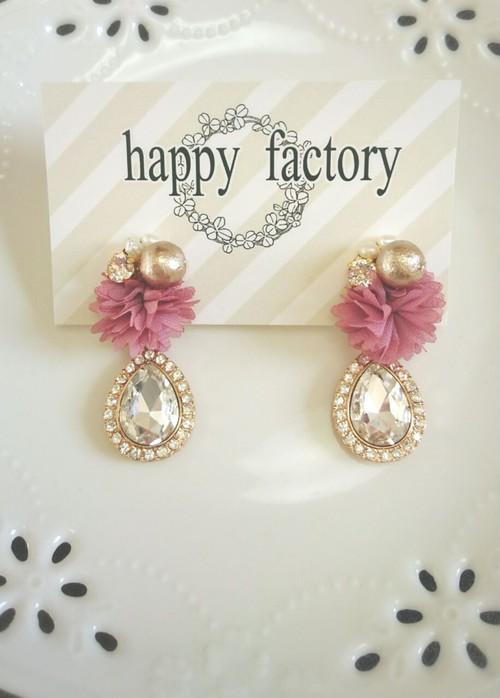 flowerpearlとクリスタルドロップのイヤリング(ショコラピンク)