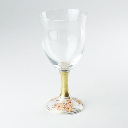 九谷和グラス(ワイングラス) 金彩梅