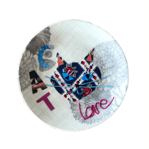 【UPCYCLE】 DECOPAGE PLATE CAT love