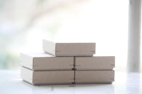 角留め箱 クラフトボール ホチキス銅色 【5箱】60×60×20mm