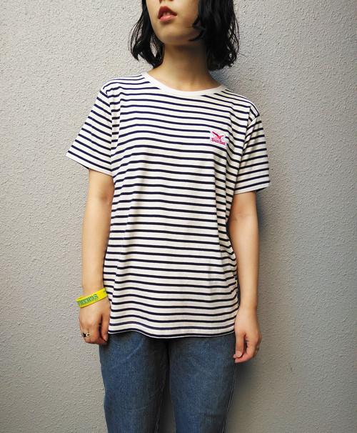 よこしまなTシャツ(ロゴ刺繍ワッペン付き) [ネイビーボーダー]