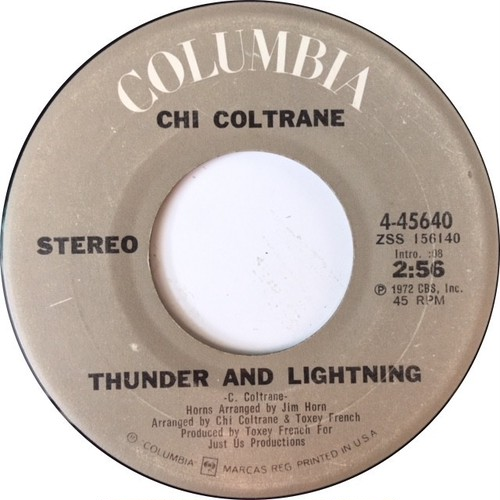 Chi Coltrane ‎– Thunder And Lightning / Time To Come In