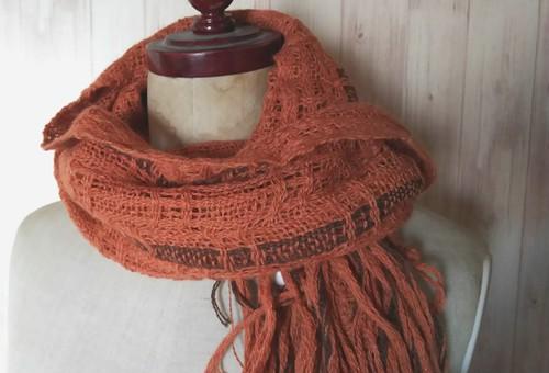 手織り 上質シルクアルパカ レース織りマフラー 215