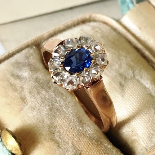 Sapphire&Rose cut Diamond Cluster Ring