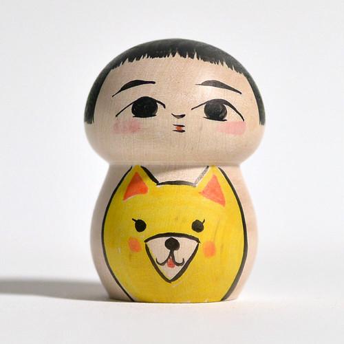 キツネちゃんこけし 約2寸 約5.1cm 長谷川優志 工人(津軽系)#0128