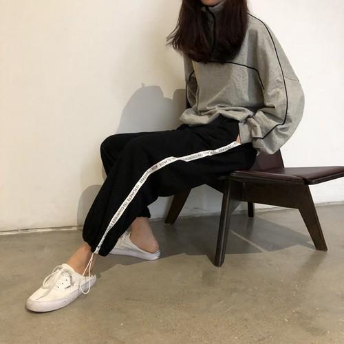スポーティー 英字ロゴ ライン パンツ【0744】