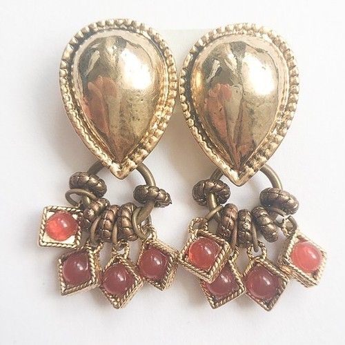 gold design dangle earring[e-941]