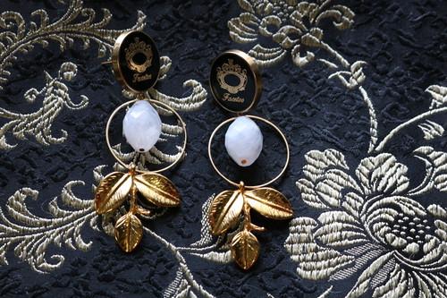 pierce/earring 黒の輝き白の煌めき