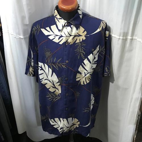 new port blue リネンアロハシャツ メンズXL