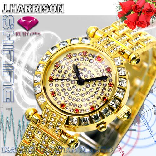 【J.HARRISON】JH-088L 天然ルビー1石付電池式電波時計