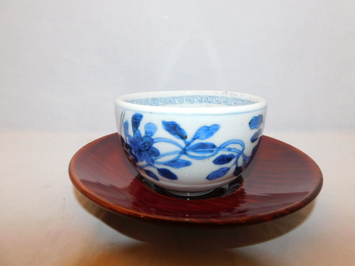 明茶色茶托(6客) lacquer Japanese tea six saucers (No24)