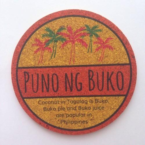丸形カラーコルクコースター【PUNO NG BUKO】