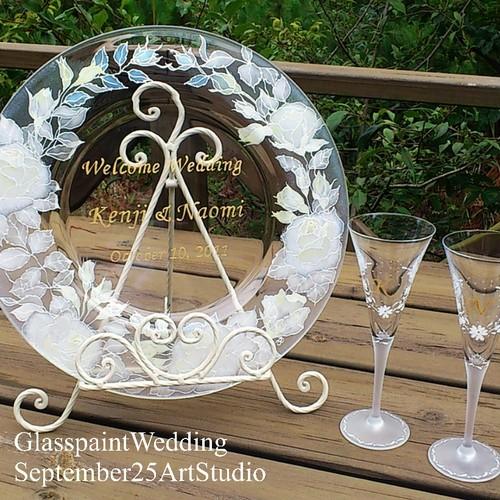 【オリジナルデザイン】文字入りウェルカムプレート(縁プレート)/結婚式ウェルカムボード・記念日ギフト・結婚祝い