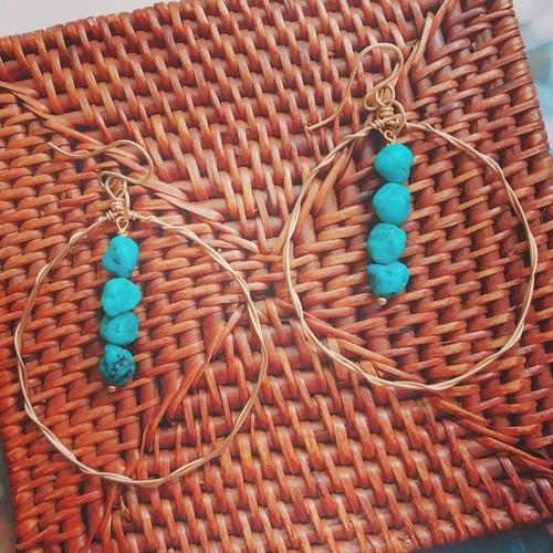 turquoise big wave hoop