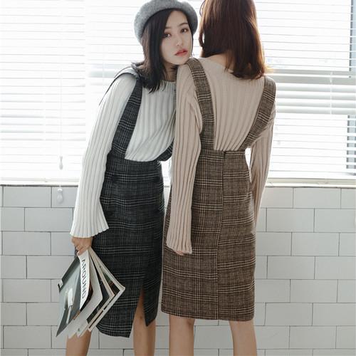 【送料無料】大人っぽいひざ丈♡ ジャンパースカート ワンピース チェック柄