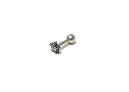 "STAR★バーベル BLACK (ピアス)・Straight barbell ""BLACK STAR""(ear piercing)"