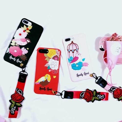 鳥 フラワー ポイント iPhone シェルカバー ケース ブラック  レッド  ピンク ストラップ モダン ★ iPhone 6 / 6s / 6Plus / 6sPlus / 7 / 7Plus / 8 / 8Plus / X ★ [MD259]