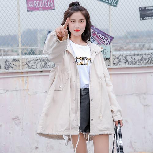 【アウター】新品簡約ファッションカジュアル通勤韓国系無地フード付きゆったりワイルドコート22489157