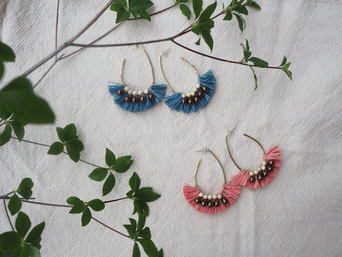 raffia beads hoop pierce 2