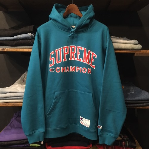【SUPREME × CHAMPION】-シュプリーム-SS17 HOODED SWEAT SHIRT GREEN