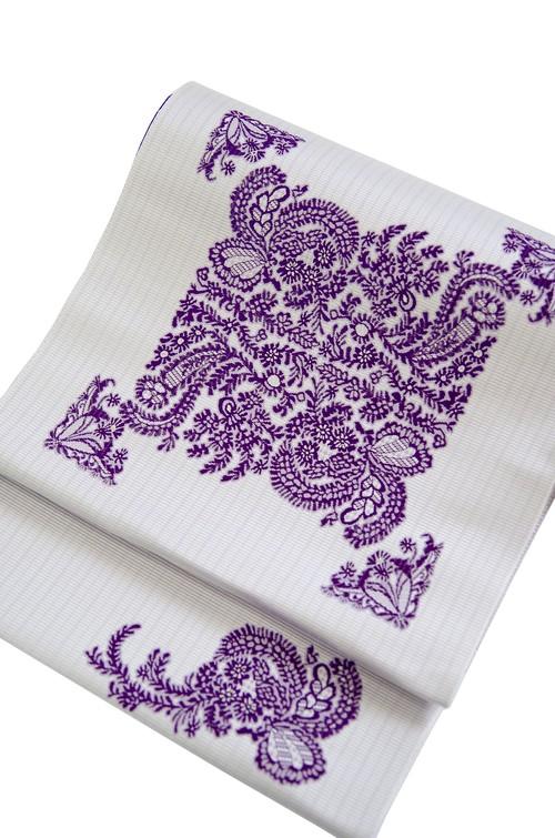 グラースオリジナル博多織八寸帯 花束 白