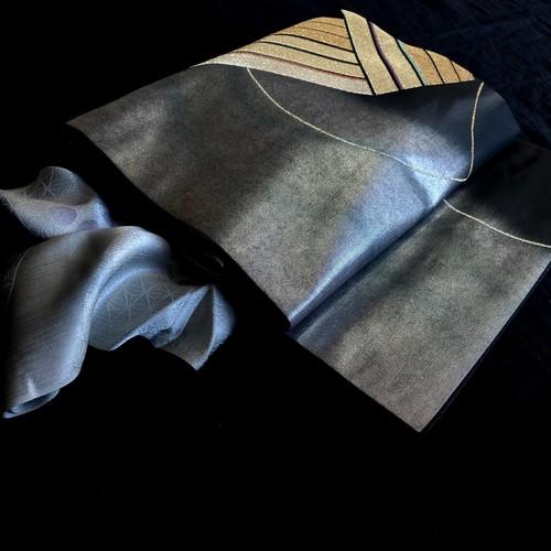 〈モノトーンの名古屋帯 〉織り出し 粋 スタイリッシュ クール 和装 黒名古屋
