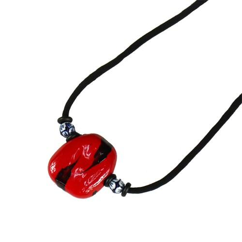 ns142 赤漆陶器玉ネックレス