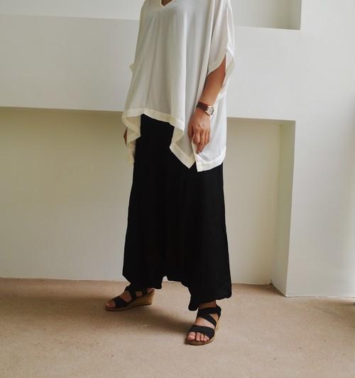 片側ポケット付き★サルエルパンツ【ブラック】