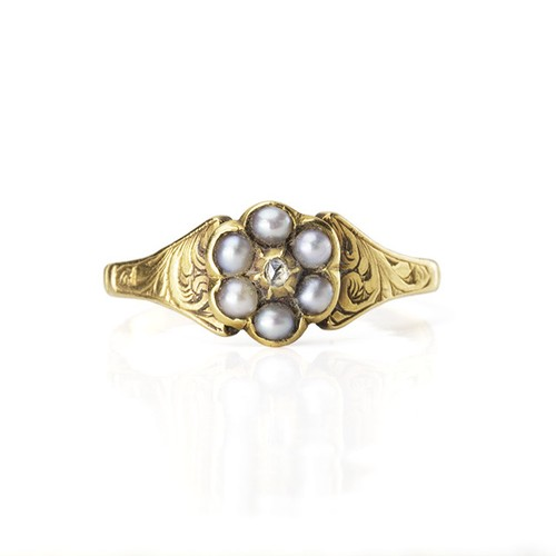 Regency Pearl Diamond Cluster Ring