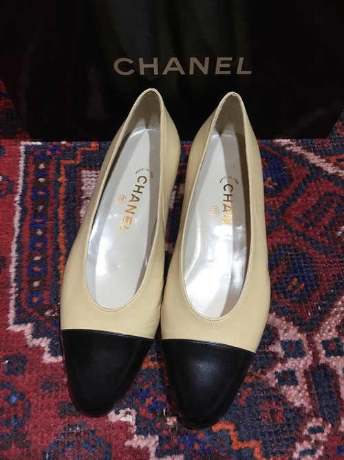 .CHANEL BICOLOR LEATHER PUMPS MADE IN FRANCE/シャネルバイカラーレザーパンプス 2000000032368