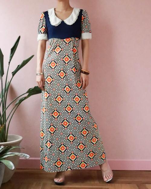 70's flower × block check dress