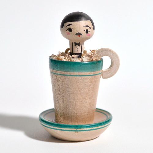 コーヒーカップこけしちゃん 約2.5寸 約7.5cm 長谷川優志 工人(津軽系)#0069