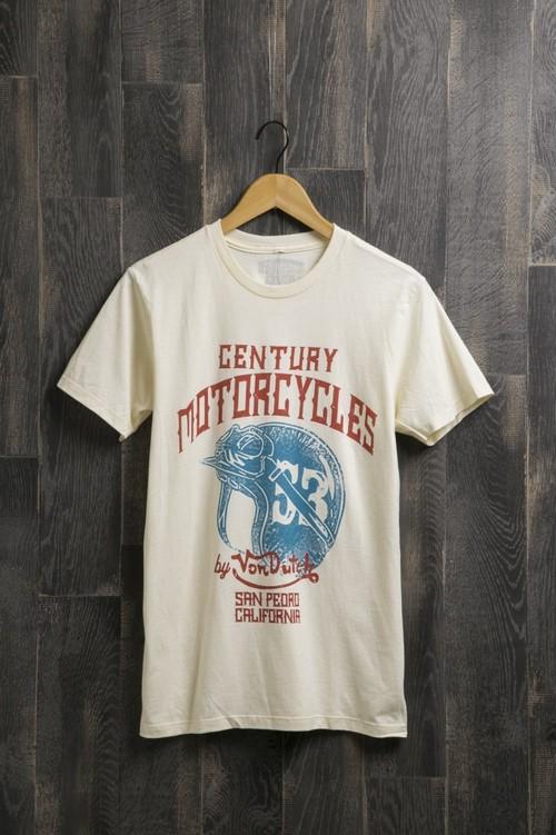 センチュリーモーターズ バイ ボンダッチ Tシャツ C/N SS T-SHIRT コットン ショートスリーブ Tシャツ century 05 CREAM メンズ CENTURY MOTORS BY VONDUTCH