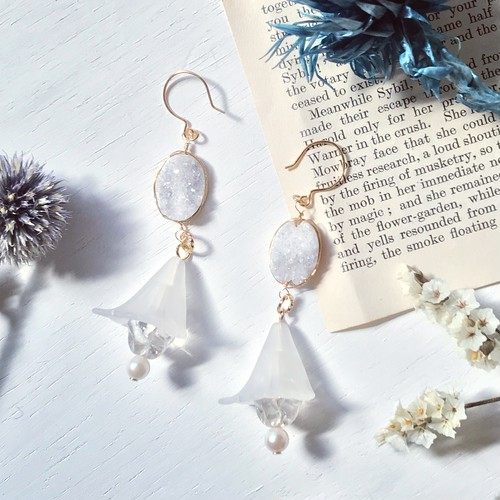 White bellflower earring