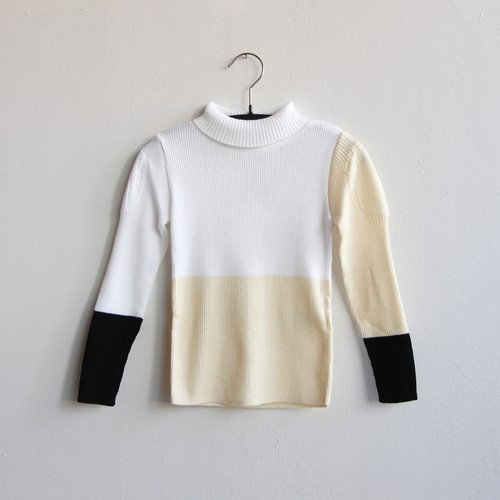 《frankygrow 2020AW》MULTI COLOR SWELL SHOULDER HIGH-NECK KNIT / white × ivory × black / LL