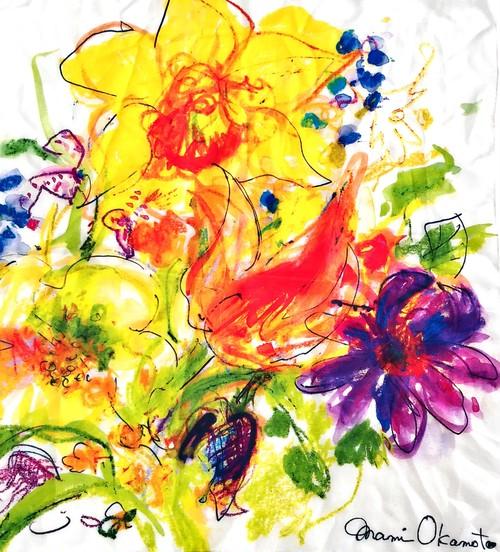 コットンシルクスカーフ「初春の花」