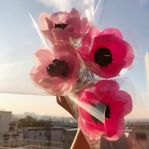 【蛍光ピンク】一輪のアネモネキャンドル