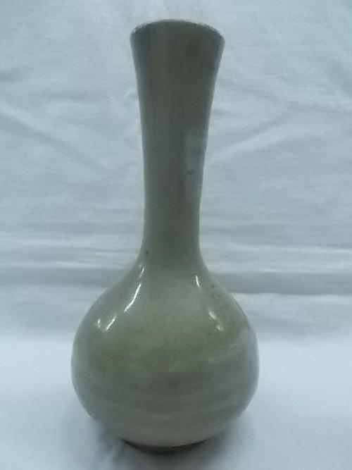 赤膚焼 大塩正人窯 一輪挿し 花瓶 花器 陶磁器 カーキ色 高さ約18cm ★中古 良品 元箱なし