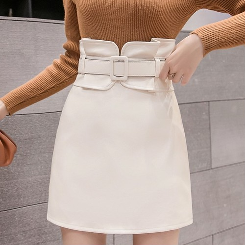 4色/ベルト付きデザインフェイクレザースカート ・18154