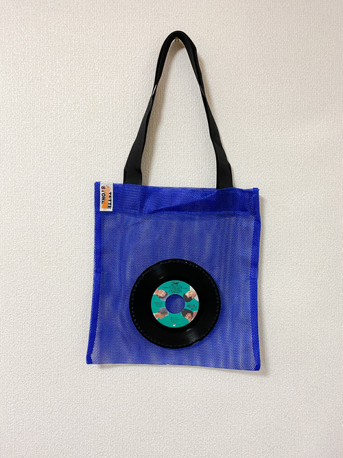 7インチレコードメッシュバッグ・ブルー/オフコース